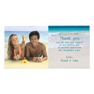 La huésped tropical del boda de playa le agradece tarjeta fotográfica