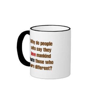 La humanidad del amor odia diferencia tazas de café