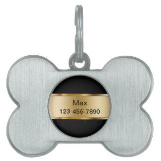 La identificación del perro casero marca de oro co placas mascota