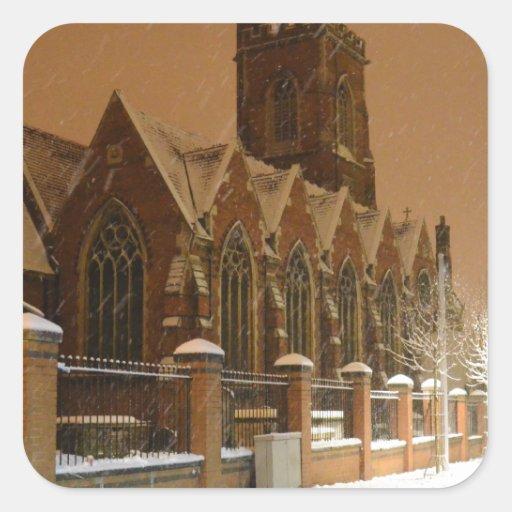 La iglesia Acton de St Mary Calcomanía Cuadradas Personalizadas
