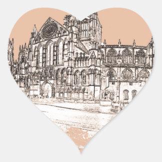 La iglesia de monasterio de York Pegatina En Forma De Corazón