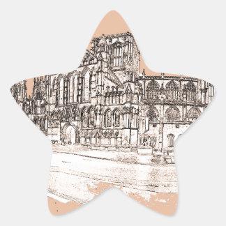 La iglesia de monasterio de York Pegatina En Forma De Estrella
