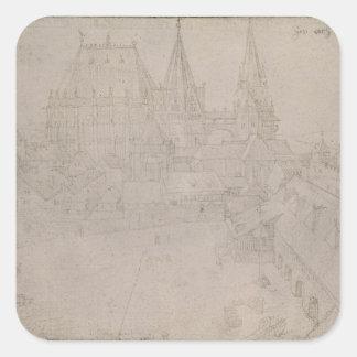 La iglesia de monasterio en Aquisgrán, 1520 Pegatina Cuadrada