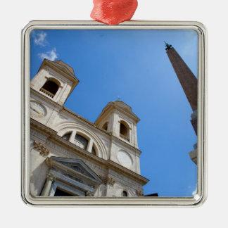 La iglesia de Monti del dei de Trinita en Roma, Adorno Navideño Cuadrado De Metal