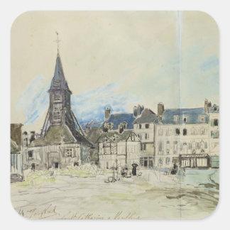 La iglesia de Sainte-Catherine, Honfleur, 1864 Calcomanias Cuadradas