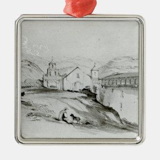 La iglesia de San Francisco, Valparaiso, 1834 Adorno Navideño Cuadrado De Metal
