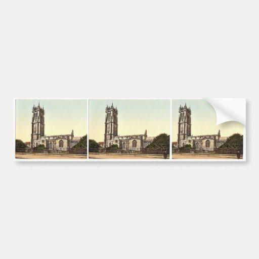 La iglesia de San Juan, Glastonbury, foto rara de  Etiqueta De Parachoque