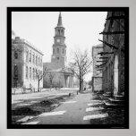 La iglesia de San Miguel en Charleston, SC 1865 Poster