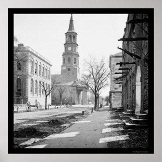 La iglesia de San Miguel en Charleston SC 1865 Poster