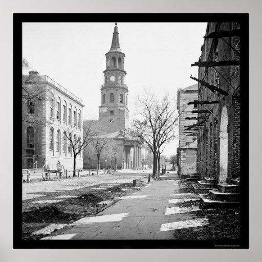La iglesia de San Miguel en Charleston, SC 1865 Póster