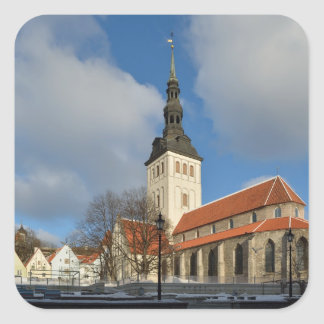 La iglesia de San Nicolás, Tallinn, Estonia Pegatina Cuadradas Personalizada