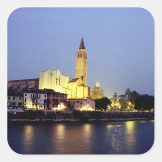 La iglesia de Sant'Anastasia en Verona, Italia Pegatina Cuadrada