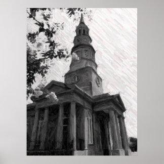 La iglesia de St Philip, blanco y negro Posters