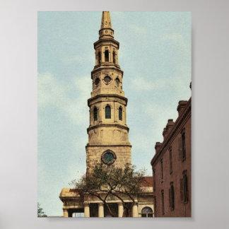 La iglesia de St Philip, Charleston, obra clásica  Posters