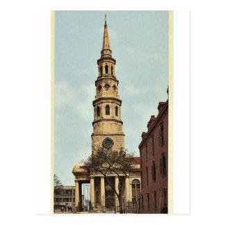La iglesia de St Philip, Charleston, obra clásica Tarjeta Postal