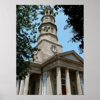 La iglesia de St Philip en Charleston Poster