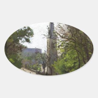 La iglesia de St Stephen, un Norwood más bajo de Pegatina Ovalada