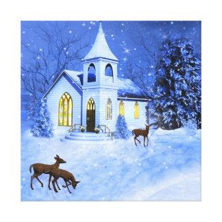 La iglesia del invierno, navidad, premio envolvió  impresiones en lienzo estiradas