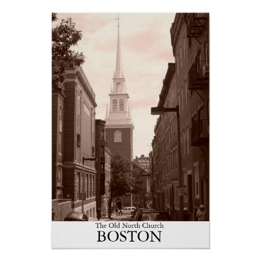La iglesia del norte vieja en Boston, Massachusett Posters