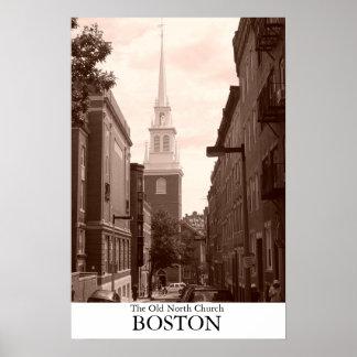 La iglesia del norte vieja en Boston, Massachusett Póster