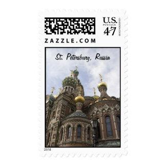 La iglesia del salvador en franqueo derramado de timbres postales