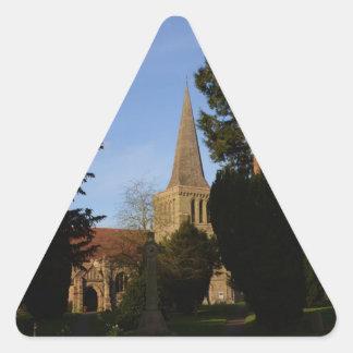 La iglesia del St Michaels alimenta anteriormente Pegatina Triangular