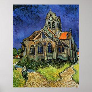 La iglesia en Auvers de Vincent van Gogh Póster