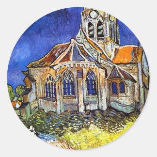 La iglesia en Auvers Pegatina Redonda