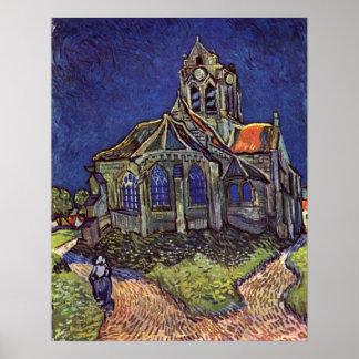 La iglesia en el Auvers-sur-Oise de Vincent van Go Póster