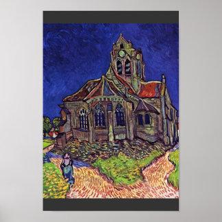 La iglesia en el Auvers-sur-Oise, por Vincent Van Póster