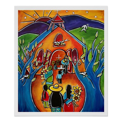 La Iglesia en enero Oliverio de Flores para Poster