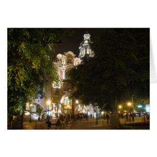 La Iglesia en la noche Tarjeta De Felicitación