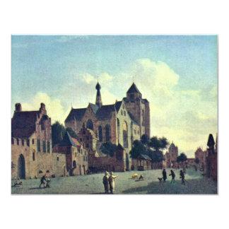 La iglesia en Veere., en enero Van Der Heyden (Bes Invitación 10,8 X 13,9 Cm