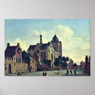 La iglesia en Veere., en enero Van Der Heyden (Bes Póster