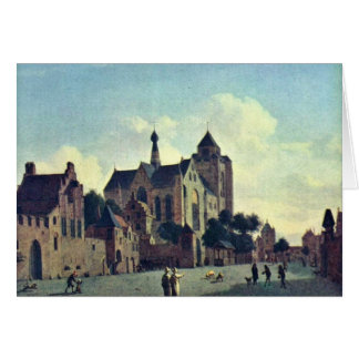 La iglesia en Veere., en enero Van Der Heyden (Bes Tarjeta De Felicitación