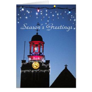 La iglesia enciende la tarjeta de Navidad