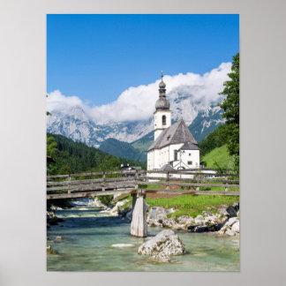 La iglesia parroquial de Ramsau en Baviera, Póster