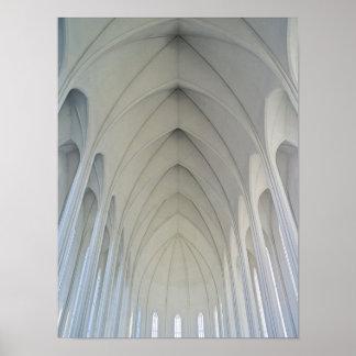 La iglesia parroquial y las señales de Reykjavik Póster