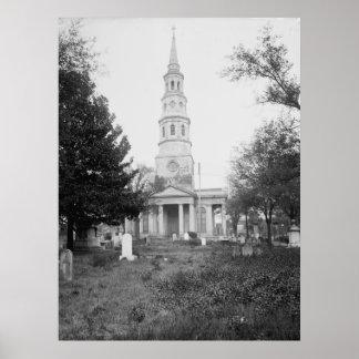 La iglesia y el cementerio de St Philip Poster
