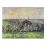 La iglesia y la granja de Eragny, 1895 Postal