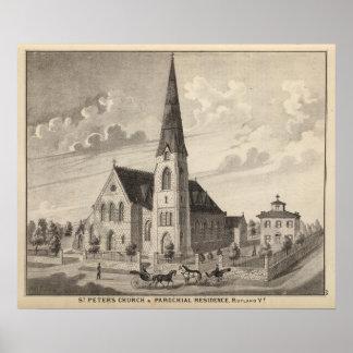 La iglesia y la residencia parroquial de San Pedro Póster