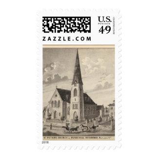 La iglesia y la residencia parroquial de San Pedro Sello Postal