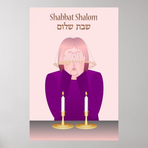 La iluminación Shabbat mira al trasluz el poster
