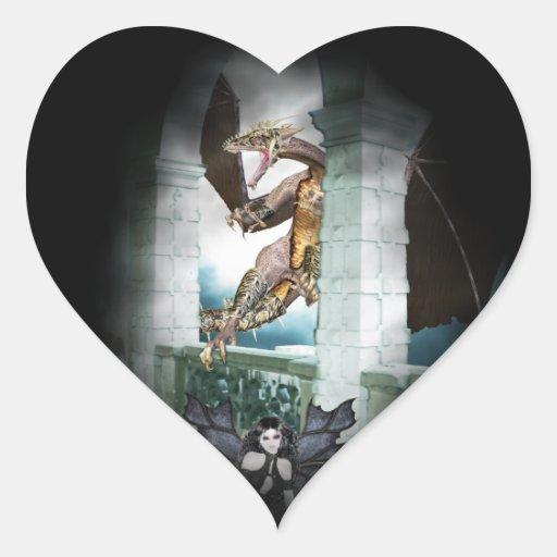 La ilustración de la guarida del dragón pegatina en forma de corazón