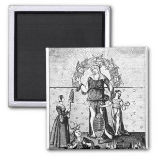 La imagen de dama Astrology con los tres Imán De Frigorifico