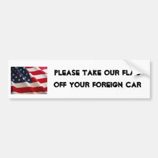 la imagen de la bandera americana, toma por favor  pegatina para auto