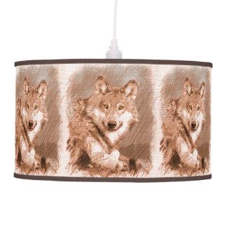 La imagen del bosquejo del lápiz del lobo tejó el lámpara de techo