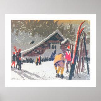 La imagen del esquí del vintage, alista para esqui póster