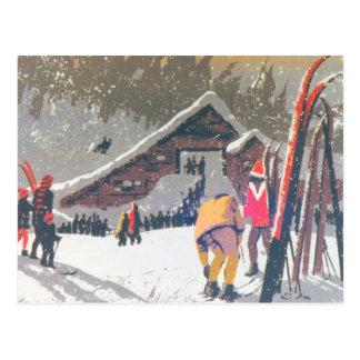 La imagen del esquí del vintage, alista para postal