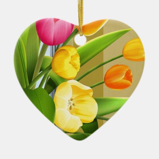 La imagen del vector de la primavera de la flor de adorno navideño de cerámica en forma de corazón